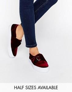 Бархатные кроссовки с D‑образными кольцами ASOS DIGGER - Красный