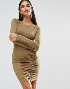 Платье с длинными рукавами и молнией Jessica Wright - Зеленый