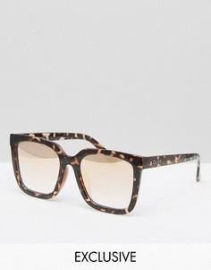 Эксклюзивные очки в прямоугольной оправе Quay Australia - Коричневый