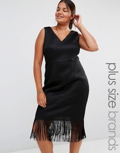 Платье с глубоким декольте и бахромой Lovedrobe - Черный