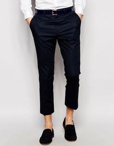 Поплиновые темно-синие укороченные брюки скинни ASOS - Темно-синий