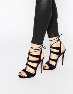 Босоножки на каблуке со шнуровкой Truffle Collection Rita - Черный