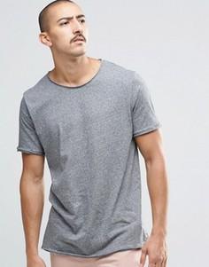 Темно-серая меланжевая футболка с необработанными краями Weekday - Серый