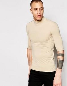 Бежевая облегающая футболка с воротником-стойкой Weekday - Бежевый