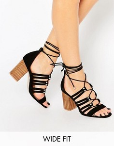 Босоножки на каблуке со шнуровкой для широкой стопы ASOS TIA - Черный