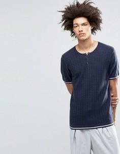 Вязаная футболка из смешанной мериносовой шерсти с горловиной на пуговицах ASOS - Темно-синий