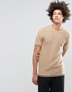 Вязаная футболка из смешанной мериносовой шерсти с горловиной на пуговицах ASOS - Бежевый
