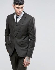 Темно-серый полушерстяной пиджак слим ASOS - Зеленый