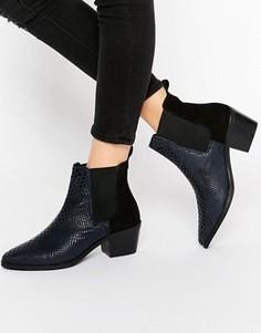 Кожаные ботинки челси на среднем каблуке с крокодиловым рисунком Park Lane - Темно-синий