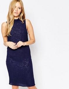 Темно-синее фактурное платье миди Minimum Gittah - Темно-синий