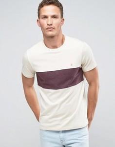 Кремовая футболка слим с широкой полосой на груди Farah - Кремовый