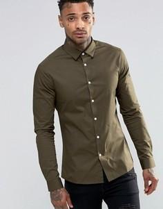 Рубашка скинии цвета хаки с длинными рукавами ASOS - Зеленый