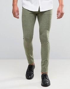 Суперузкие брюки цвета хаки в крапинку ASOS - Зеленый