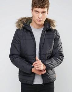 Дутая куртка с искусственным мехом на капюшоне Jack & Jones Originals - Черный