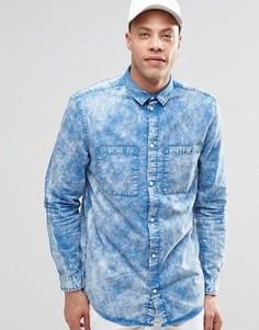 Синяя рубашка с эффектом кислотной стирки Weekday Average - Синий