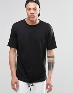Черная футболка со шнурком Weekday - Черный