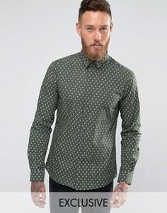 Рубашка зауженного кроя с принтом черепа Noose and Monkey - Зеленый