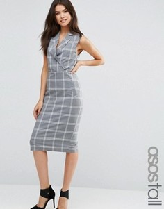 Клетчатое платье в стиле смокинга ASOS TALL - Серый