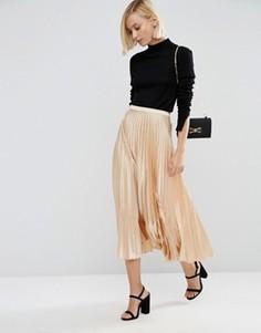 Плиссированная атласная юбка миди ASOS - Кремовый