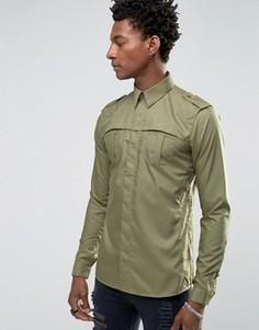 Рубашка скинни Rogues of London - Зеленый
