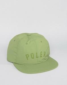 Нейлоновая 6-панельная кепка Poler - Зеленый