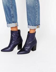 Кожаные ковбойские ботинки с заостренным носком ASOS ENZU - Синий