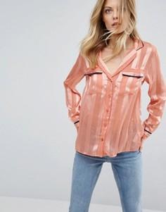 Прозрачная блузка в пижамном стиле с полосками ASOS - Розовый