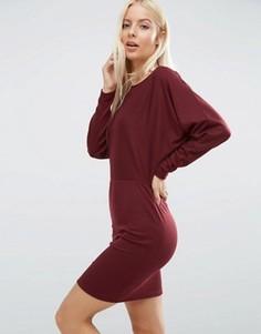 Платье мини в рубчик с рукавами летучая мышь ASOS - Красный