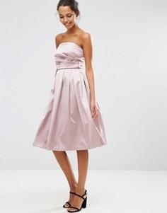 Атласное платье‑бандо для выпускного ASOS - Розовый