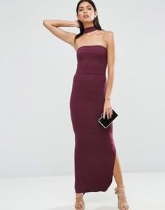 Платье макси в стиле бандо с отделкой чокер ASOS - Красный