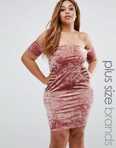 Платье мини из мятого бархата Missguided Plus - Розовый