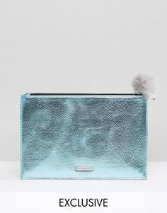 Эксклюзивный голубой клатч металлик с серым помпоном Skinnydip - Синий