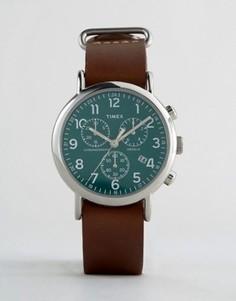 Большие часы с кожаным ремешком и хронографом Timex - Коричневый