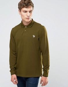Футболка-поло слим с длинными рукавами и логотипом Paul Smith - Зеленый