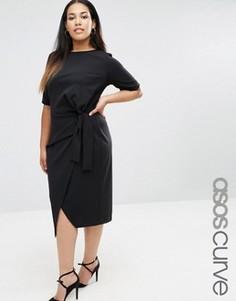 Платье с узелком спереди ASOS CURVE - Черный