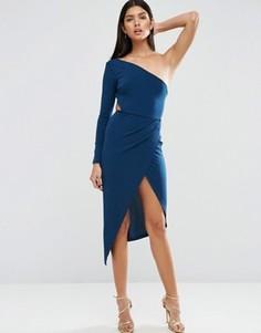 Платье миди из крепа на одно плечо с запахом ASOS - Темно-синий