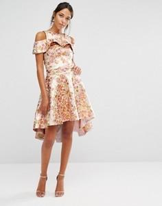 Комбинируемая розово-золотистая юбка из жаккарда Chi Chi - Золотой