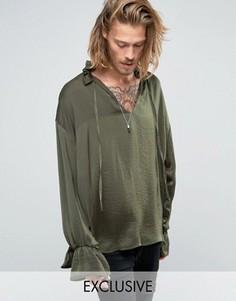 Рубашка-туника классического кроя Reclaimed Vintage - Зеленый