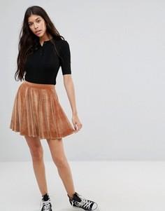 Расклешенная бархатная мини‑юбка Boohoo - Коричневый