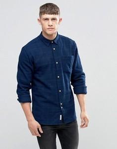 Темно-синяя рубашка с начесом в тонкую клетку Bellfield - Темно-синий