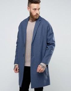 Полушерстяное пальто ASOS - Синий