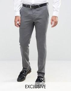 Зауженные фланелевые брюки c отворотами Noose & Monkey - Серый