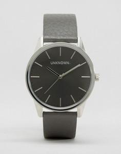 Часы с серым кожаным ремешком и серым циферблатом UNKNOWN Classic - 39 мм - Серый