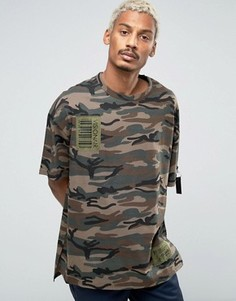 Камуфляжная футболка с заниженной линией плеч Vision Air - Зеленый