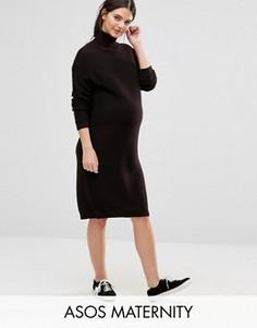 Платье миди для беременных с высоким воротом ASOS Maternity - Коричневый