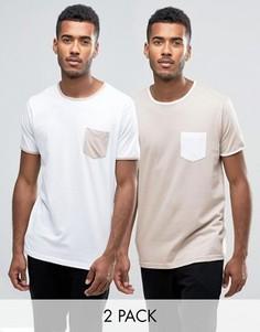 2 футболки с карманом на груди Brave Soul - Темно-синий
