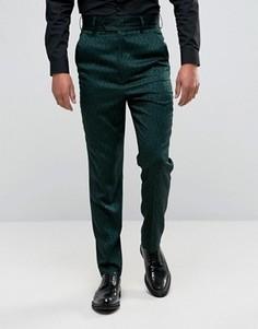 Зауженные строгие брюки с завышенной талией и принтом пейсли ASOS - Зеленый