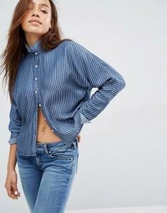 Укороченная рубашка в полоску Hilfiger - Синий