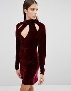 Бархатное платье с вырезами на горловине Parisian - Красный