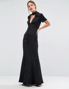 Платье асимметричного кроя с планкой на пуговицах Jarlo - Черный
